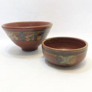 Handmade Studio Pottery Bowls, Set of 2